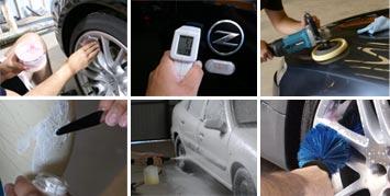 Mosaico de imágenes mostrando las diferentes técnicas que se utilizan en el detallado de automóviles